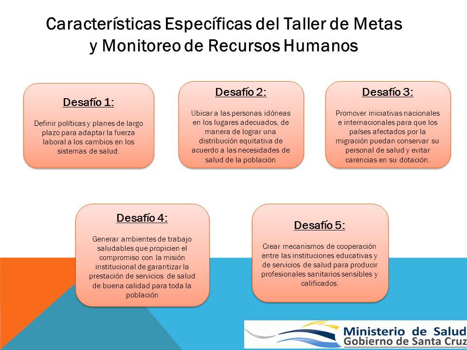 Características Específicas del Taller de Metas y Monitoreo de Recursos Humanos