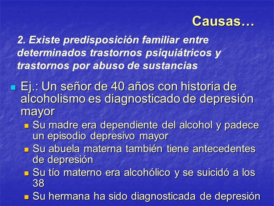 Causas… 2. Existe predisposición familiar entre determinados trastornos psiquiátricos y trastornos por abuso de sustancias.