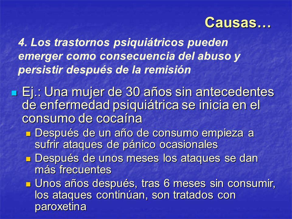 Causas… 4. Los trastornos psiquiátricos pueden emerger como consecuencia del abuso y persistir después de la remisión.