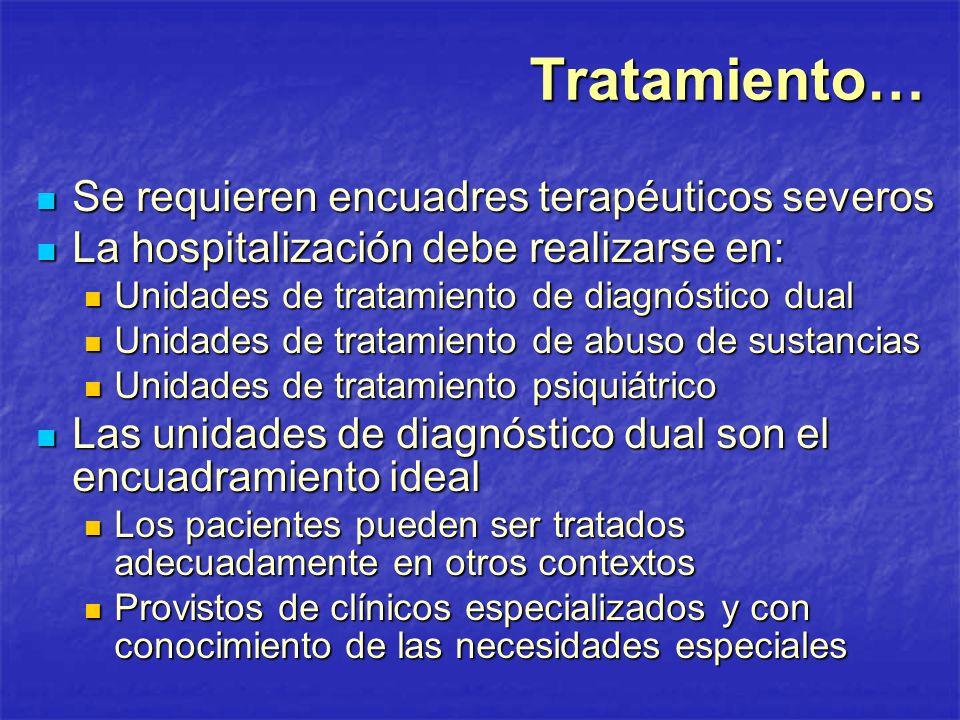 Tratamiento… Se requieren encuadres terapéuticos severos
