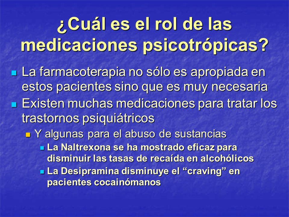 ¿Cuál es el rol de las medicaciones psicotrópicas