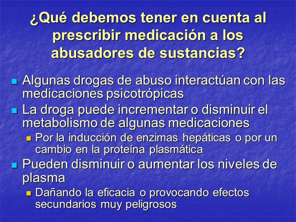 ¿Qué debemos tener en cuenta al prescribir medicación a los abusadores de sustancias
