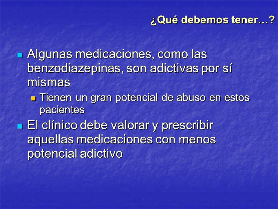 ¿Qué debemos tener… Algunas medicaciones, como las benzodiazepinas, son adictivas por sí mismas.