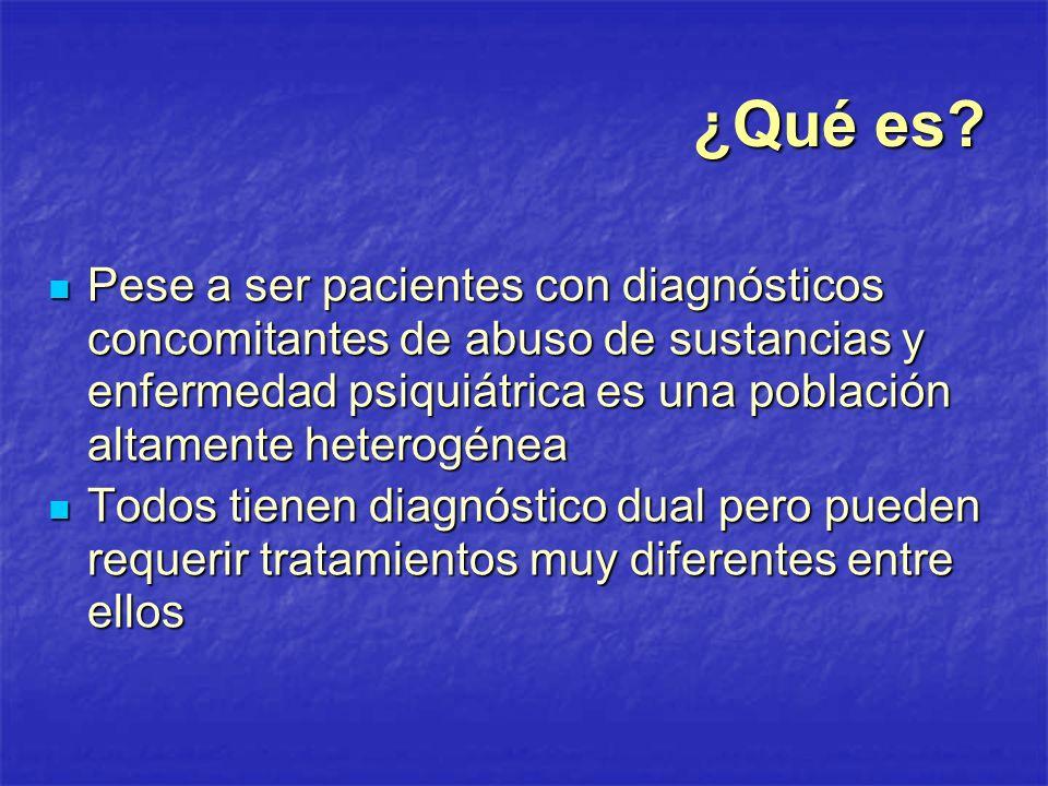 ¿Qué es Pese a ser pacientes con diagnósticos concomitantes de abuso de sustancias y enfermedad psiquiátrica es una población altamente heterogénea.