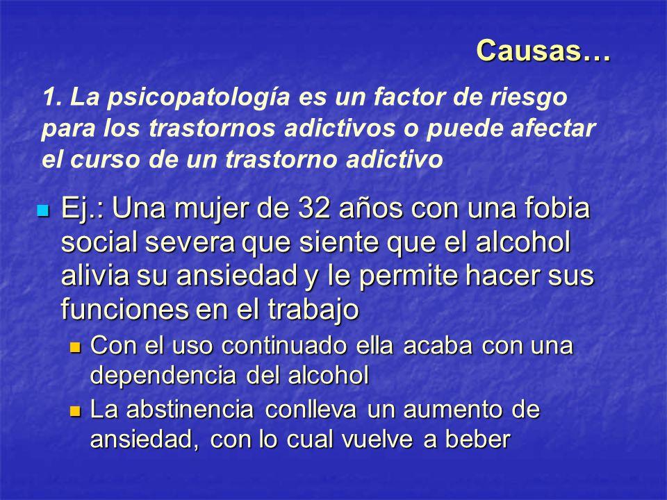 Causas… 1. La psicopatología es un factor de riesgo para los trastornos adictivos o puede afectar el curso de un trastorno adictivo.
