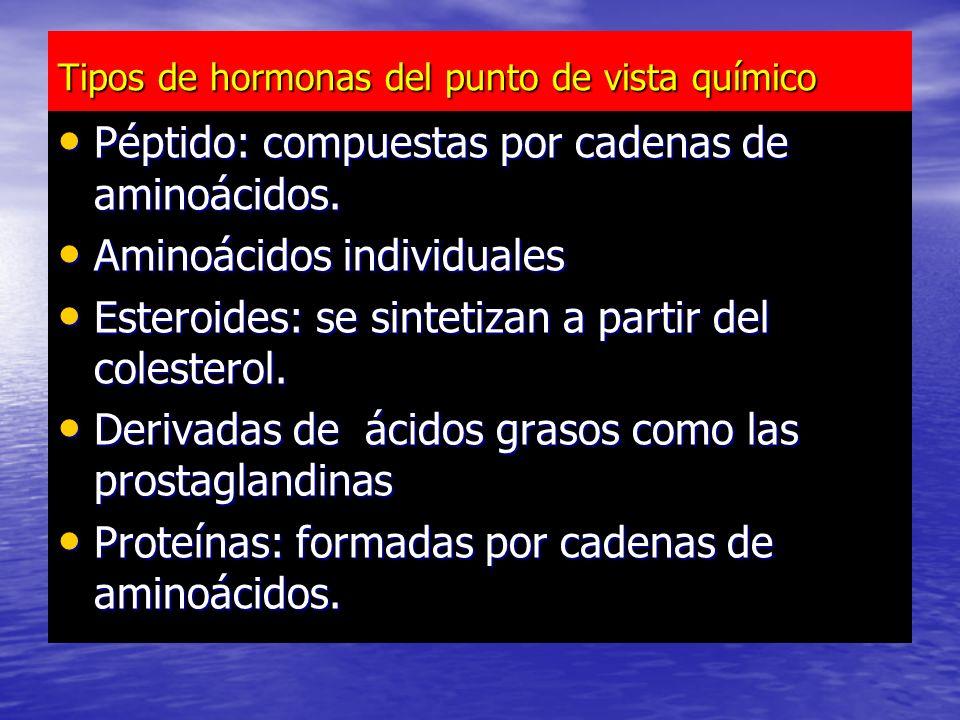 Tipos de hormonas del punto de vista químico