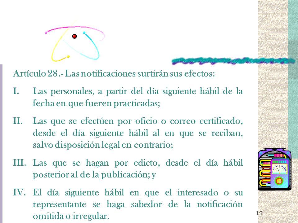 Artículo 28.- Las notificaciones surtirán sus efectos:
