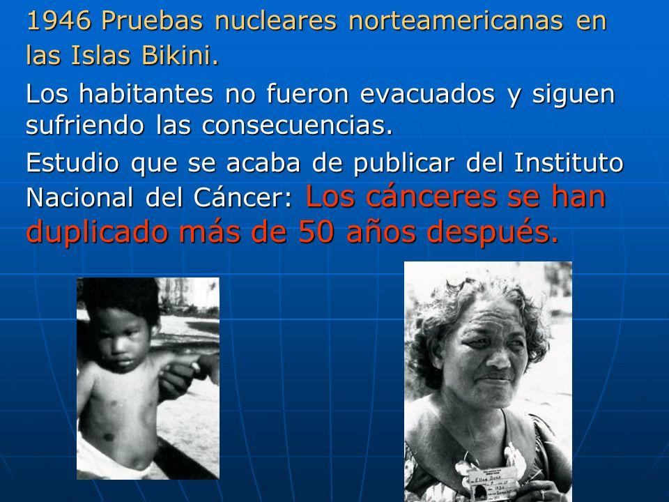 1946 Pruebas nucleares norteamericanas en las Islas Bikini.