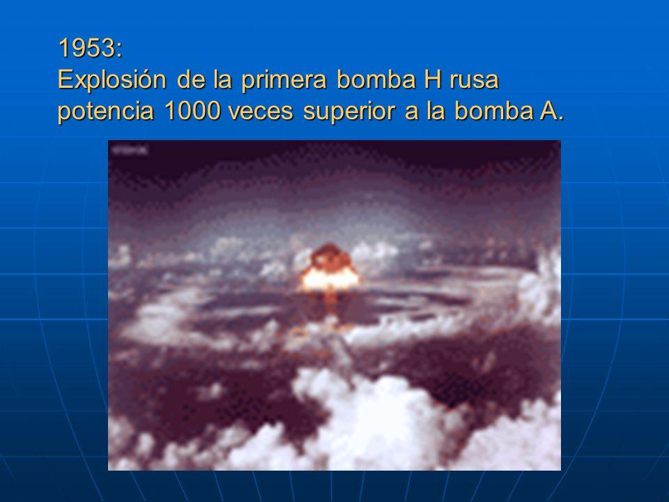 1953: Explosión de la primera bomba H rusa potencia 1000 veces superior a la bomba A.
