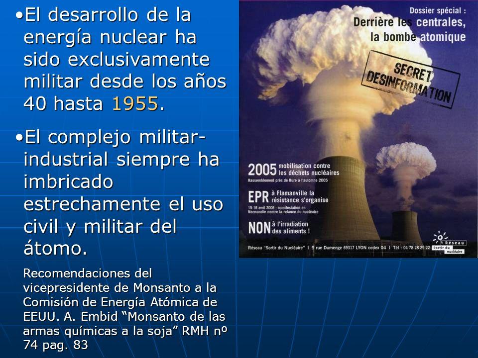 El desarrollo de la energía nuclear ha sido exclusivamente militar desde los años 40 hasta 1955.