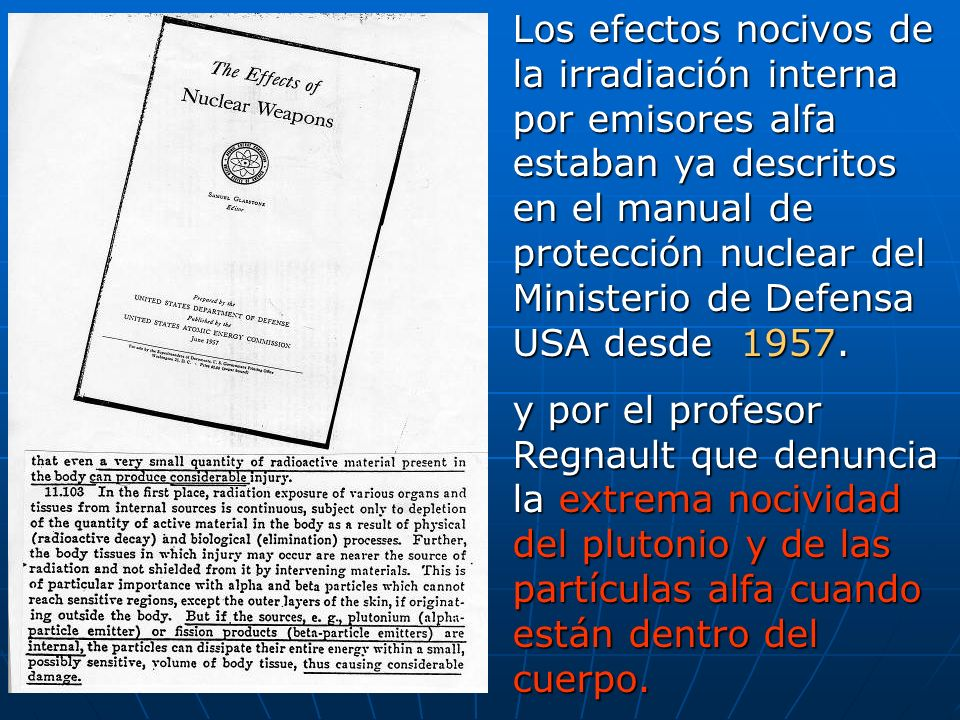 Los efectos nocivos de la irradiación interna por emisores alfa estaban ya descritos en el manual de protección nuclear del Ministerio de Defensa USA desde 1957.