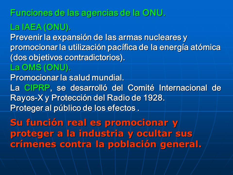 Funciones de las agencias de la ONU.
