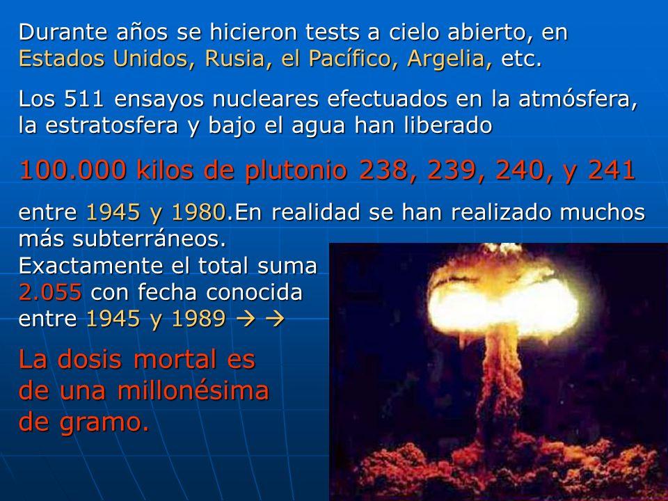 100.000 kilos de plutonio 238, 239, 240, y 241 La dosis mortal es