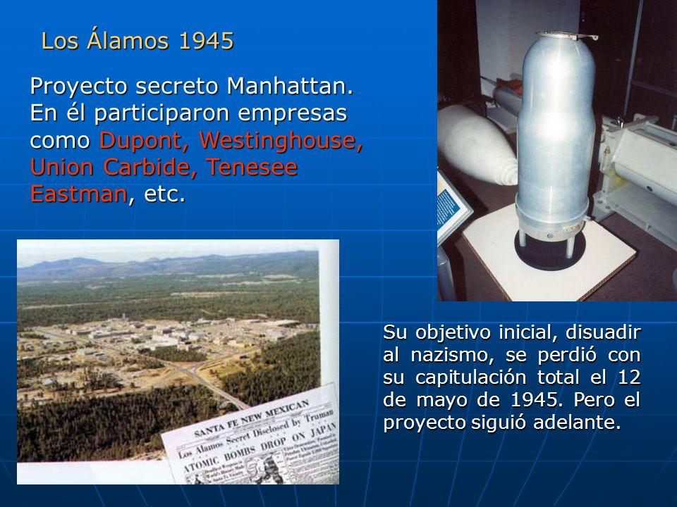 Los Álamos 1945 Proyecto secreto Manhattan. En él participaron empresas como Dupont, Westinghouse, Union Carbide, Tenesee Eastman, etc.