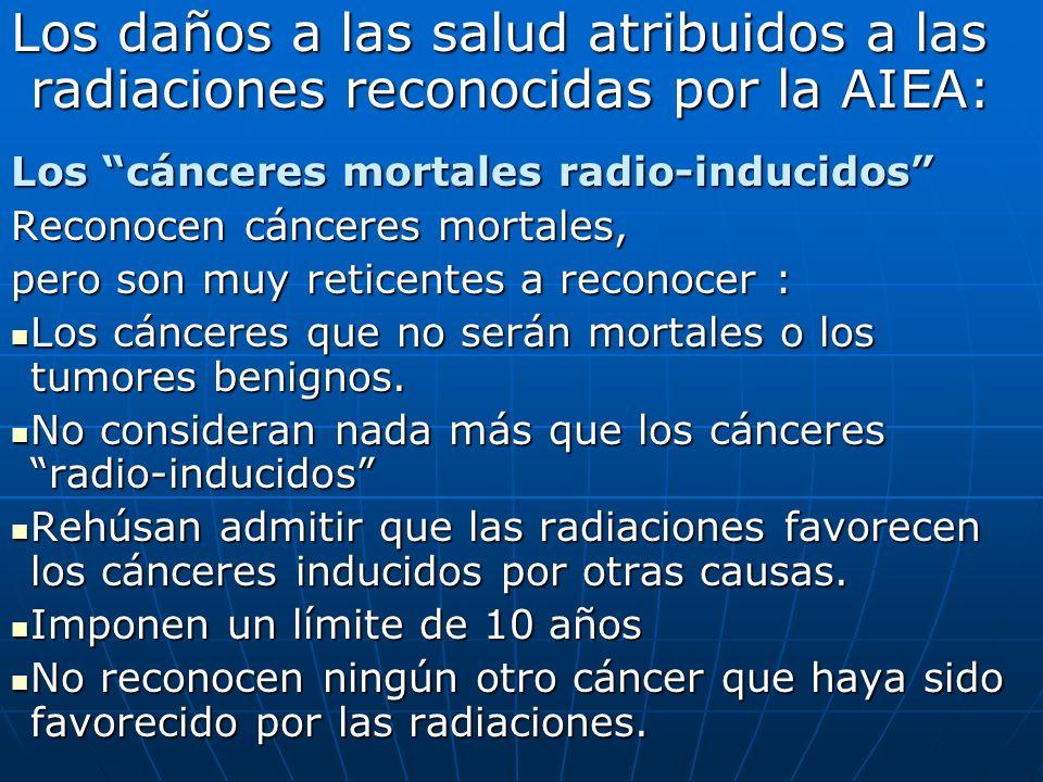 Los daños a las salud atribuidos a las radiaciones reconocidas por la AIEA: