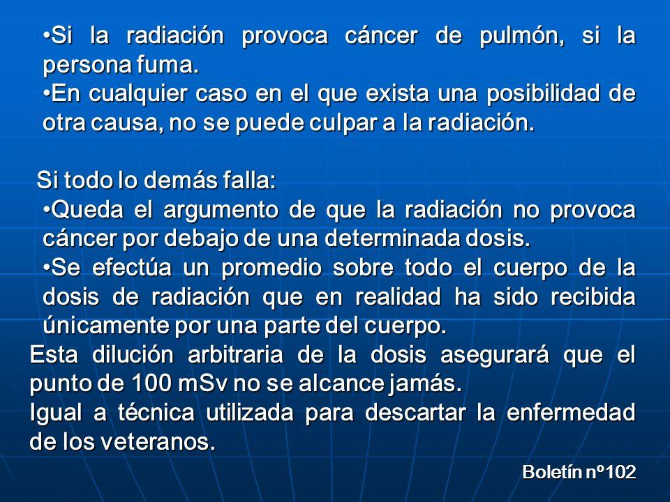 Si la radiación provoca cáncer de pulmón, si la persona fuma.