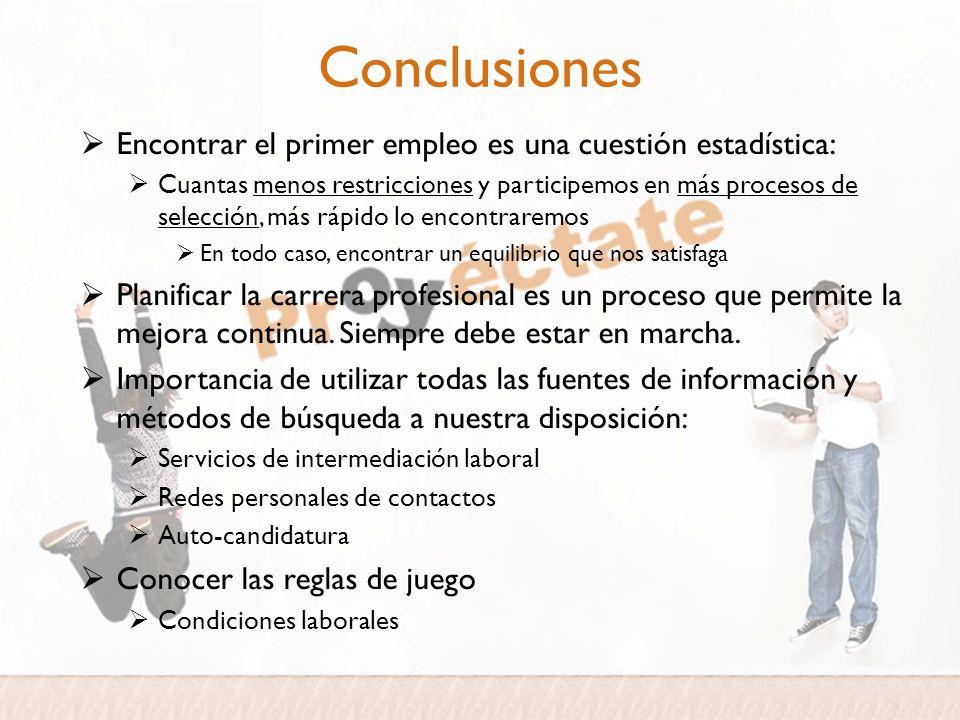 Conclusiones Encontrar el primer empleo es una cuestión estadística: