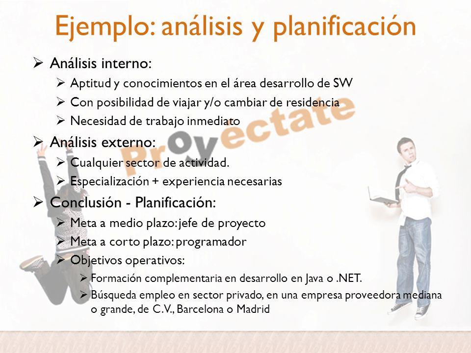 Ejemplo: análisis y planificación