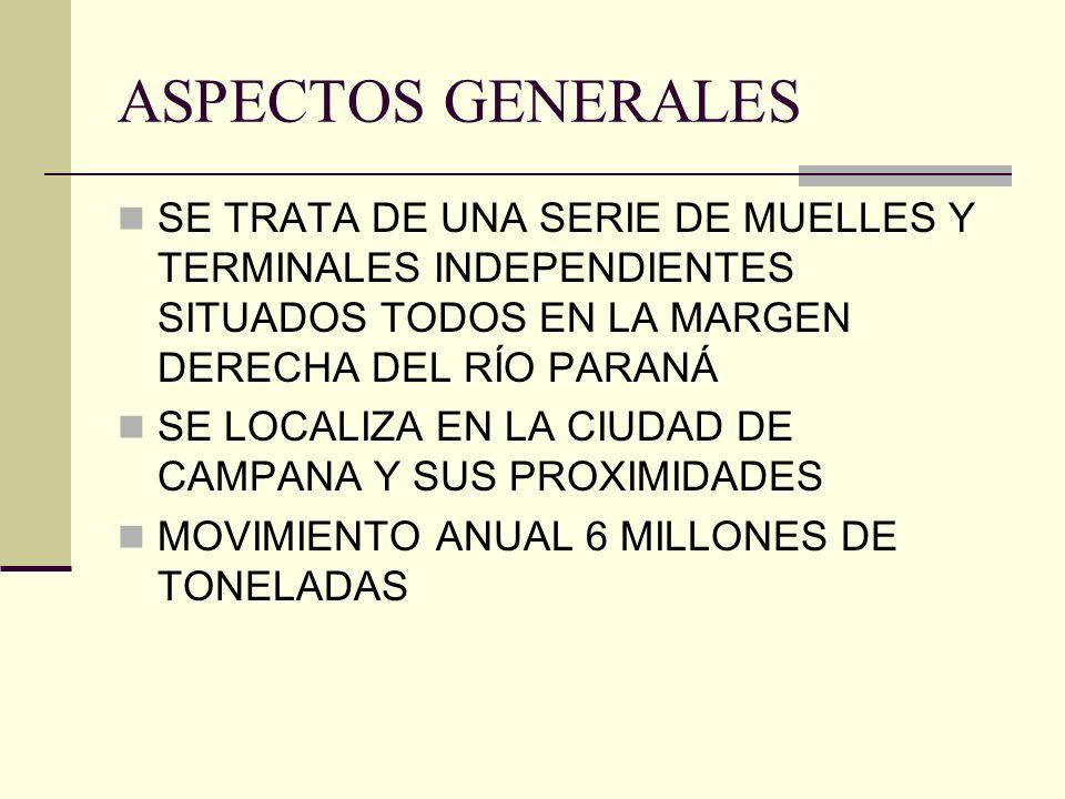 ASPECTOS GENERALES SE TRATA DE UNA SERIE DE MUELLES Y TERMINALES INDEPENDIENTES SITUADOS TODOS EN LA MARGEN DERECHA DEL RÍO PARANÁ.