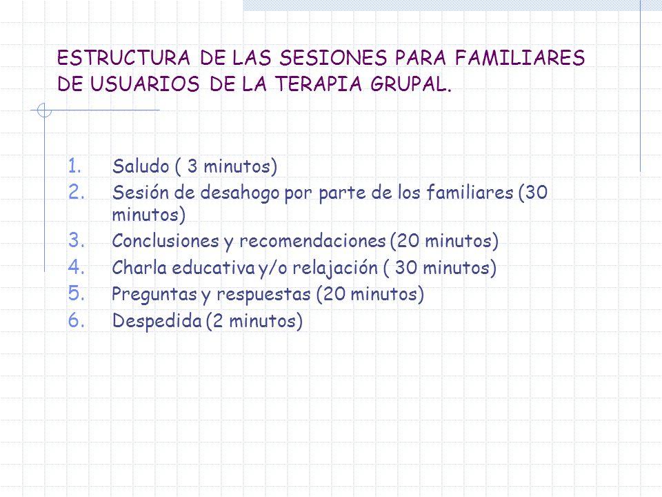 ESTRUCTURA DE LAS SESIONES PARA FAMILIARES DE USUARIOS DE LA TERAPIA GRUPAL.