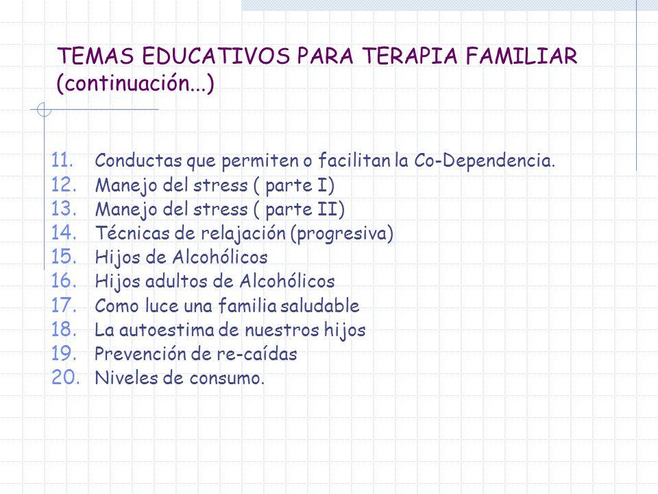 TEMAS EDUCATIVOS PARA TERAPIA FAMILIAR (continuación...)