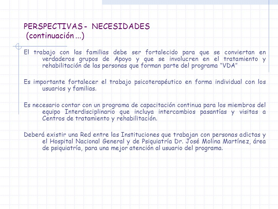 PERSPECTIVAS - NECESIDADES (continuación ...)