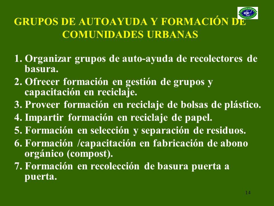 GRUPOS DE AUTOAYUDA Y FORMACIÓN DE COMUNIDADES URBANAS