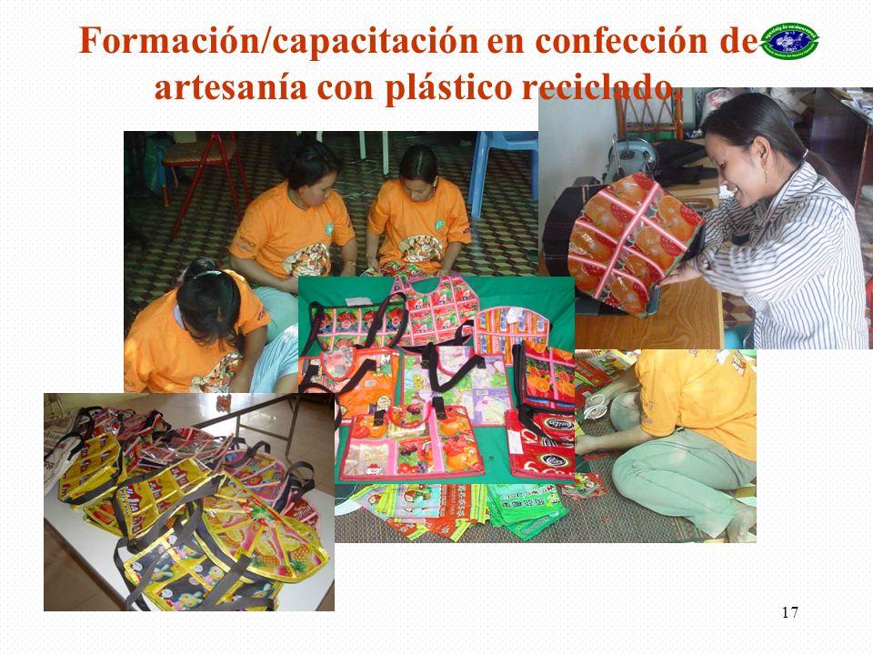 Formación/capacitación en confección de artesanía con plástico reciclado.