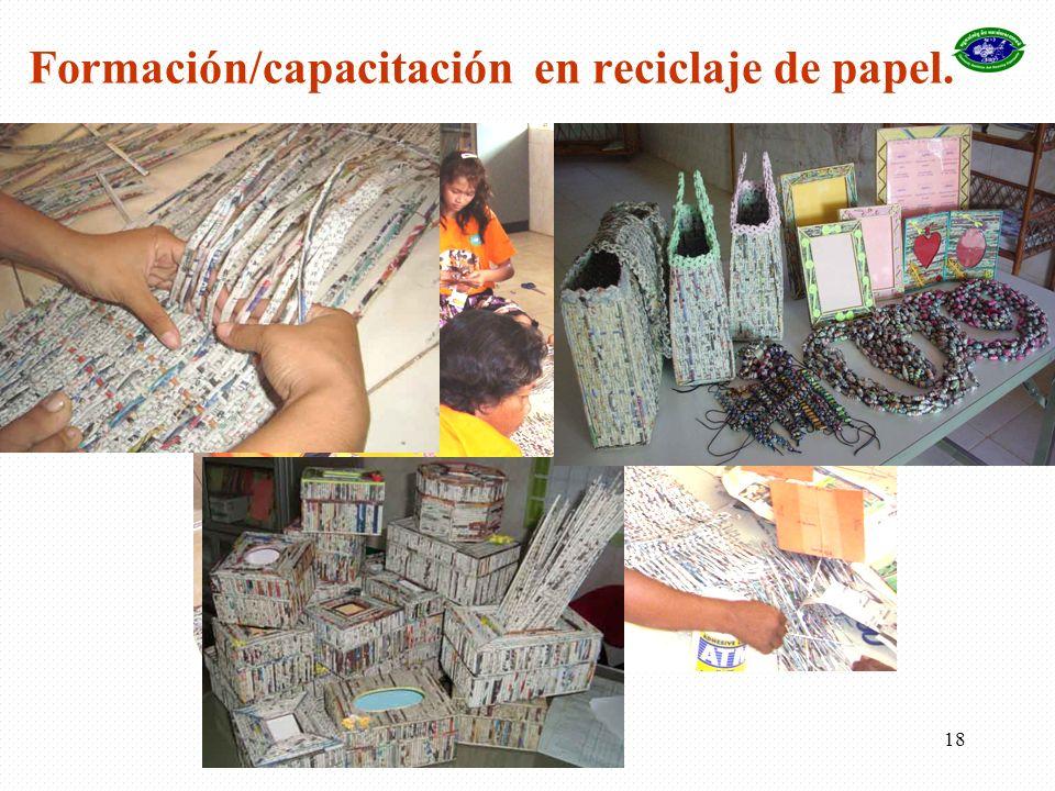 Formación/capacitación en reciclaje de papel.