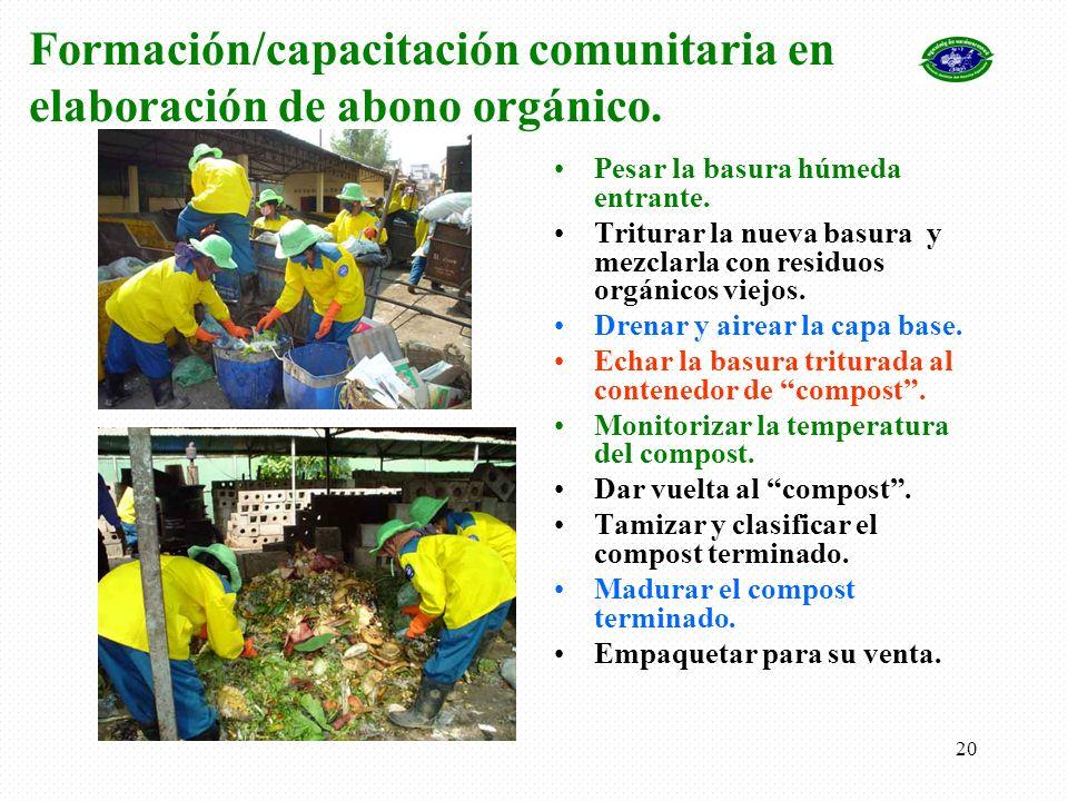 Formación/capacitación comunitaria en elaboración de abono orgánico.