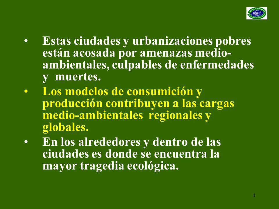 Estas ciudades y urbanizaciones pobres están acosada por amenazas medio-ambientales, culpables de enfermedades y muertes.