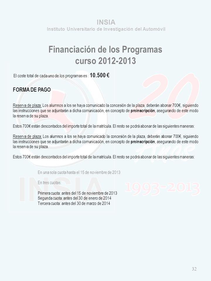Financiación de los Programas curso 2012-2013