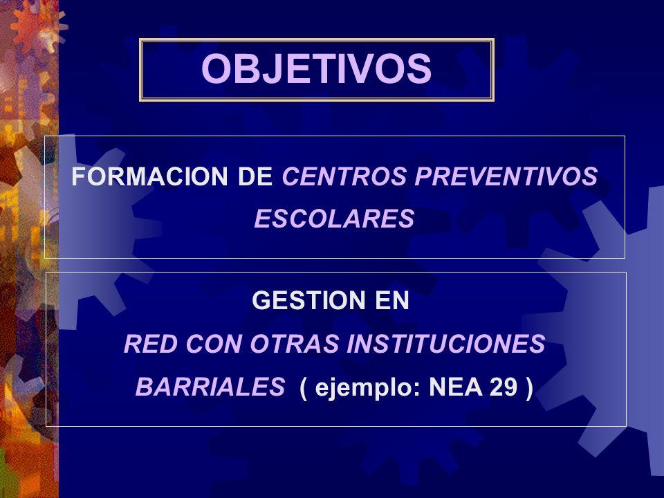 OBJETIVOS FORMACION DE CENTROS PREVENTIVOS ESCOLARES GESTION EN