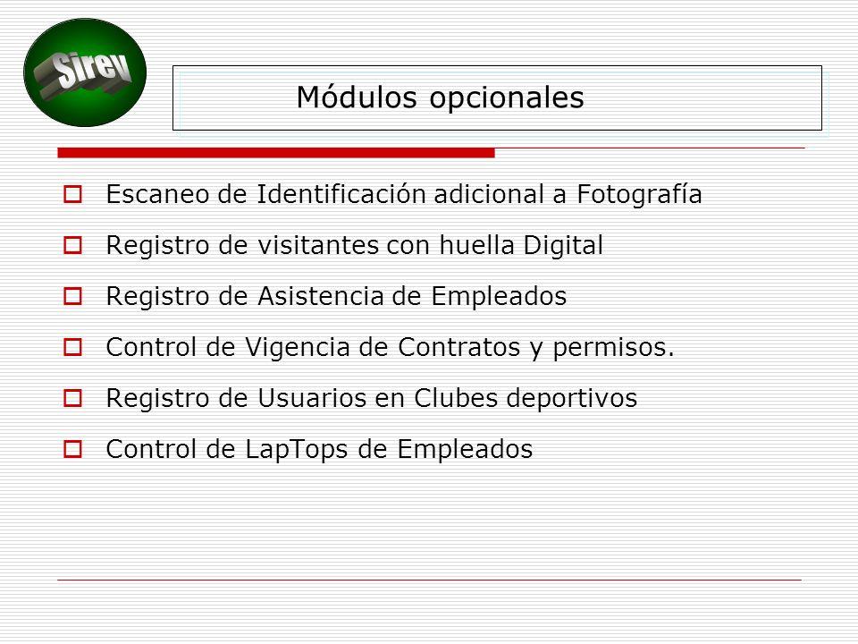 Módulos opcionales Escaneo de Identificación adicional a Fotografía