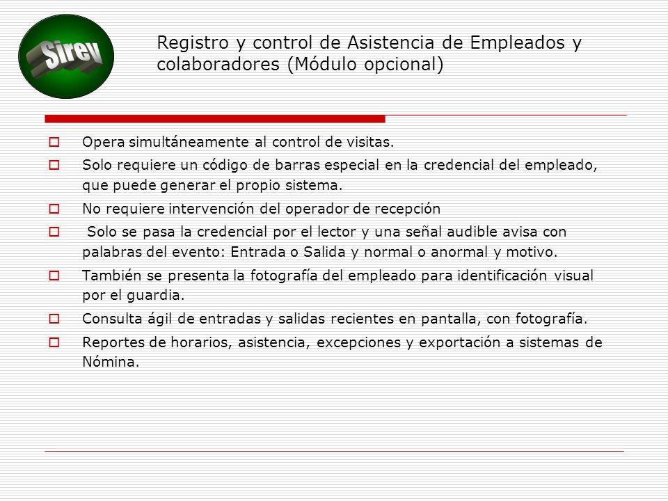 Registro y control de Asistencia de Empleados y colaboradores (Módulo opcional)