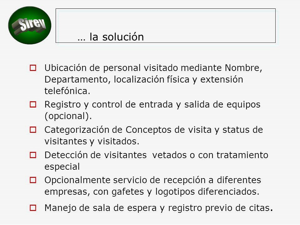 … la solución Sirev. Ubicación de personal visitado mediante Nombre, Departamento, localización física y extensión telefónica.
