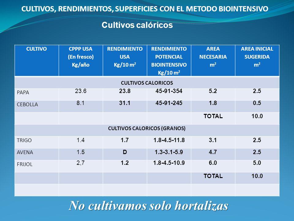RENDIMIENTO POTENCIAL BIOINTENSIVO CULTIVOS CALORICOS (GRANOS)
