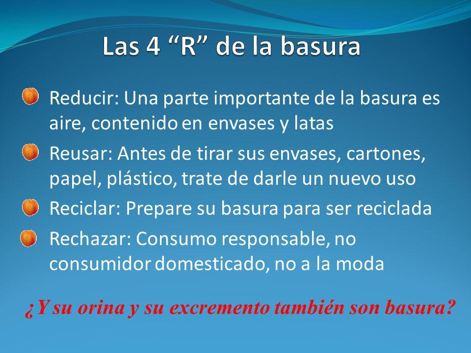 Las 4 R de la basura Reducir: Una parte importante de la basura es aire, contenido en envases y latas.