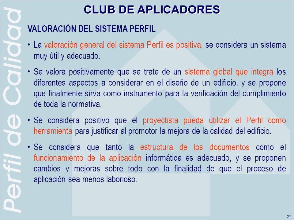 CLUB DE APLICADORES VALORACIÓN DEL SISTEMA PERFIL