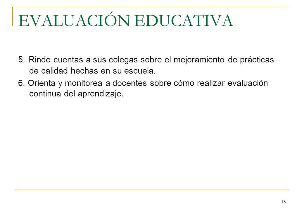 EVALUACIÓN EDUCATIVA 5. Rinde cuentas a sus colegas sobre el mejoramiento de prácticas de calidad hechas en su escuela.