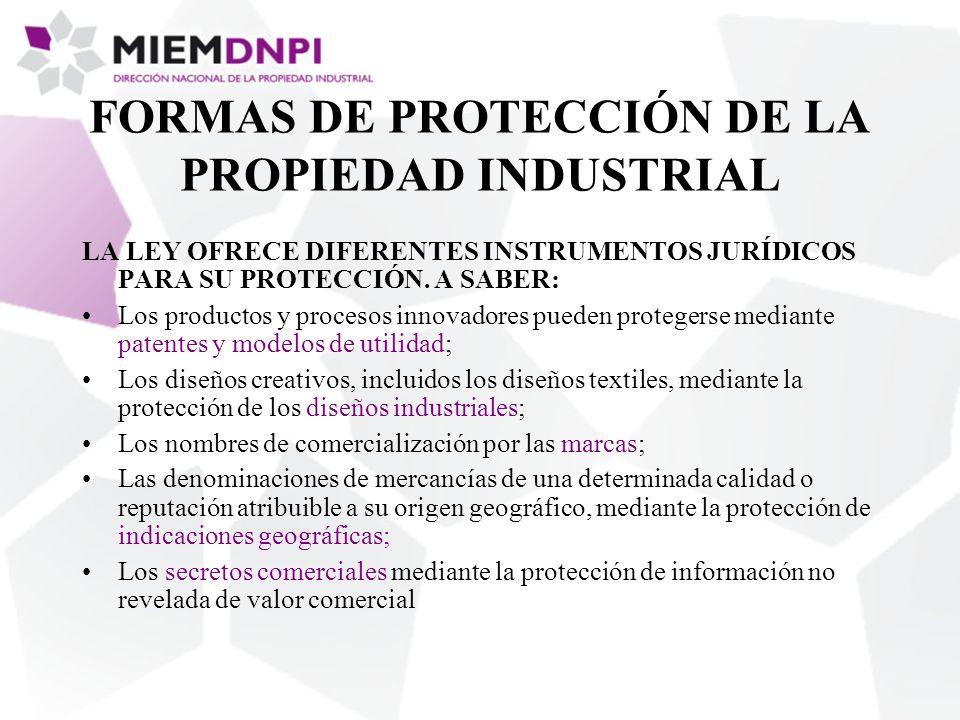 FORMAS DE PROTECCIÓN DE LA PROPIEDAD INDUSTRIAL