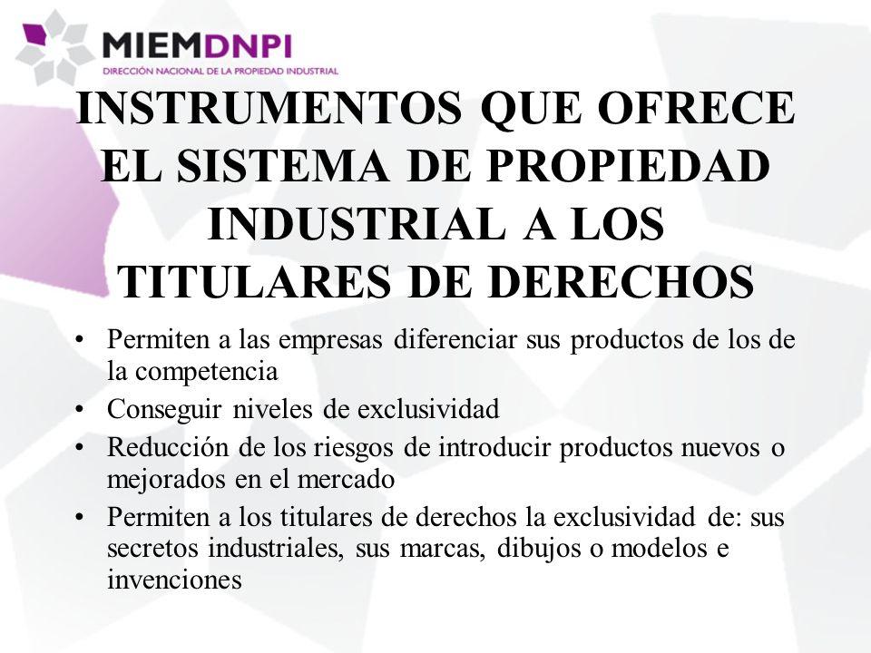 INSTRUMENTOS QUE OFRECE EL SISTEMA DE PROPIEDAD INDUSTRIAL A LOS TITULARES DE DERECHOS