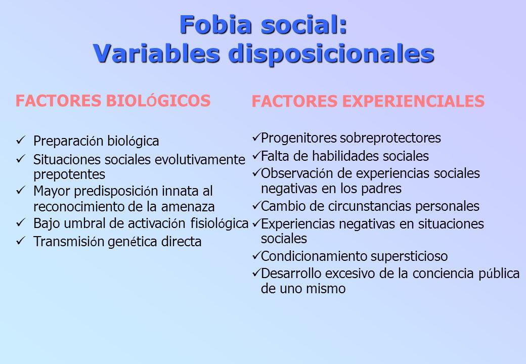 Fobia social: Variables disposicionales