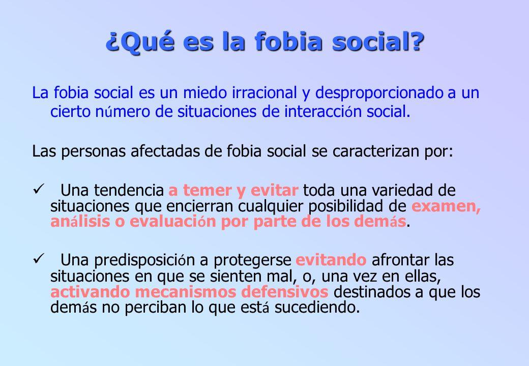 ¿Qué es la fobia social La fobia social es un miedo irracional y desproporcionado a un cierto número de situaciones de interacción social.