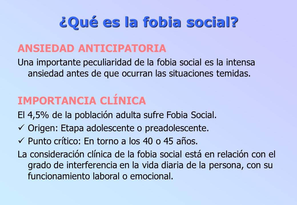 ¿Qué es la fobia social ANSIEDAD ANTICIPATORIA IMPORTANCIA CLÍNICA