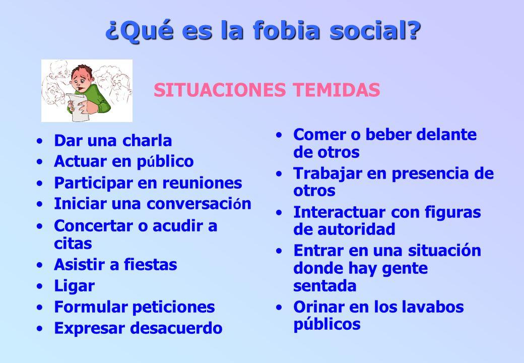 ¿Qué es la fobia social SITUACIONES TEMIDAS