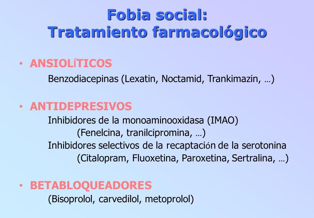 Fobia social: Tratamiento farmacológico