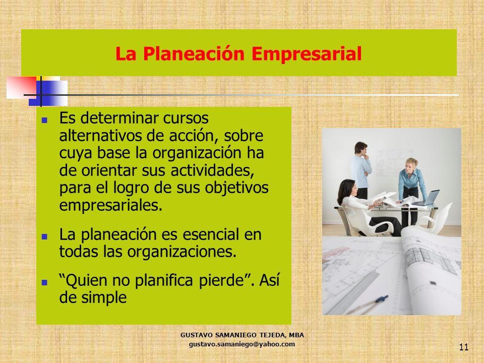 La Planeación Empresarial GUSTAVO SAMANIEGO TEJEDA, MBA