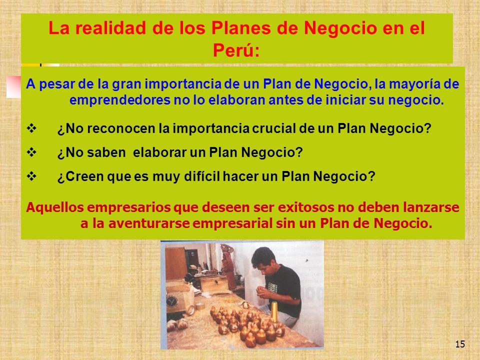 La realidad de los Planes de Negocio en el Perú: