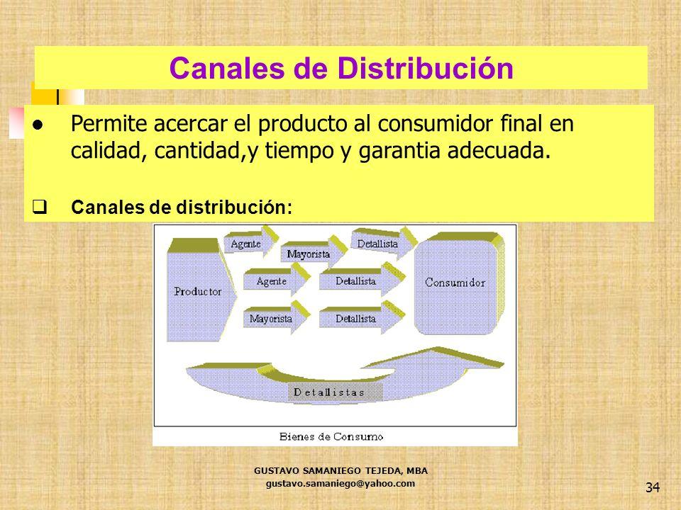 Canales de Distribución GUSTAVO SAMANIEGO TEJEDA, MBA